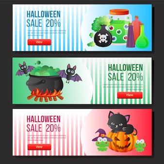 Pozione magica stabilita di web dell'insegna di vendita di halloween