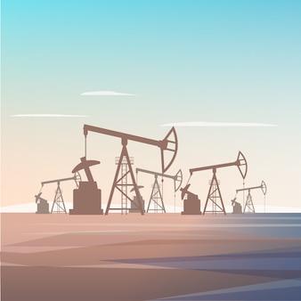 Pozzo di perforazione per profondità di estrazione dell'olio terra.