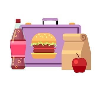Pranzo scolastico sano, colazione studentesca, brodo di carne. pranzo per scuola, lunchbox