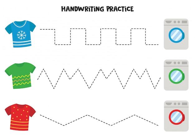 Pratica della scrittura a mano con magliette e lavatrici.