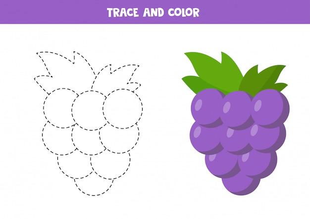 Pratica della scrittura a mano per bambini in età prescolare con uva kawaii carina.