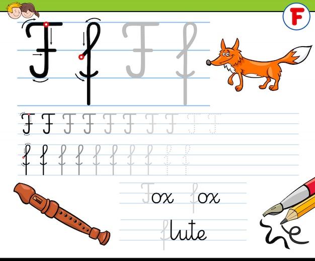 Pratica di abilità di scrittura con la lettera f per i bambini