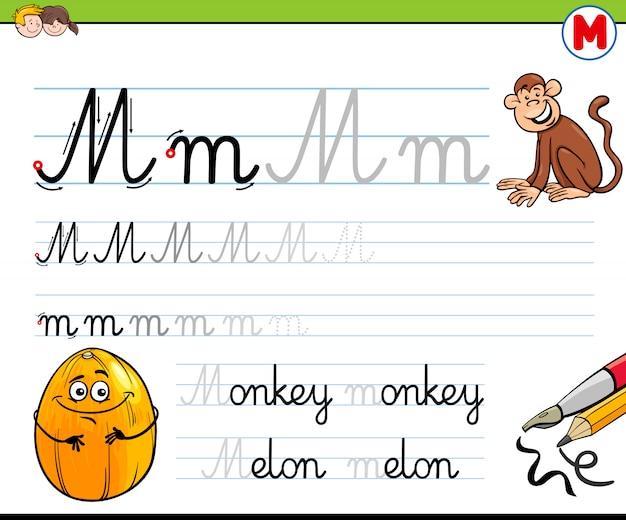 Pratica di abilità di scrittura con la lettera m per i bambini