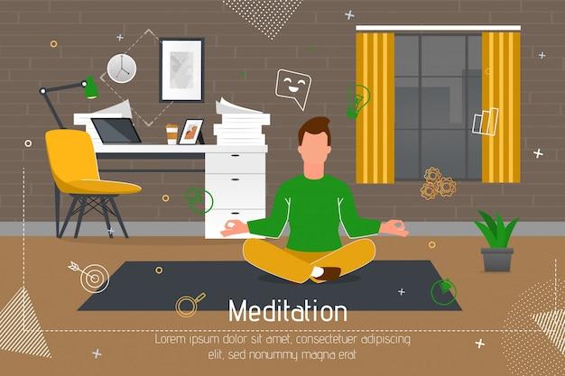 Pratica di meditazione sul banner piatto sul posto di lavoro