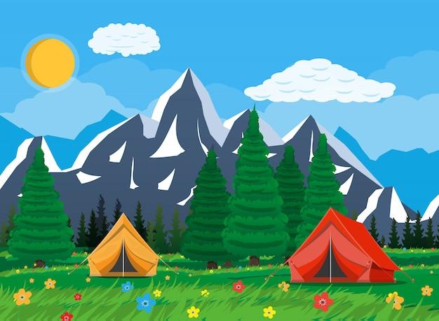 Prato con erba e campeggio.