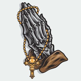 Pregare logo vettoriale scheletro a mano