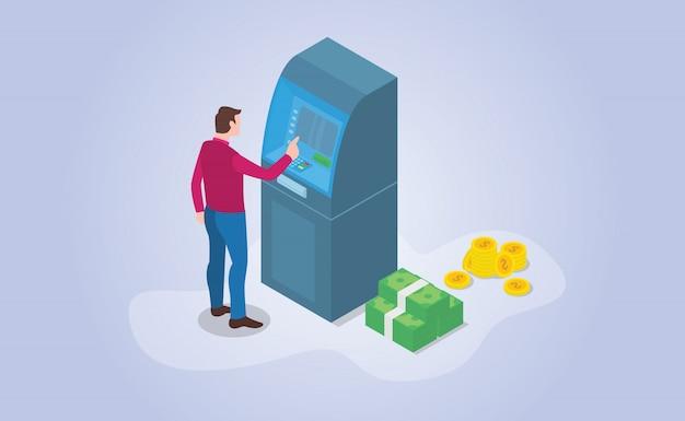 Prelievo di contanti bancomat con denaro in stile piatto moderno isometrico