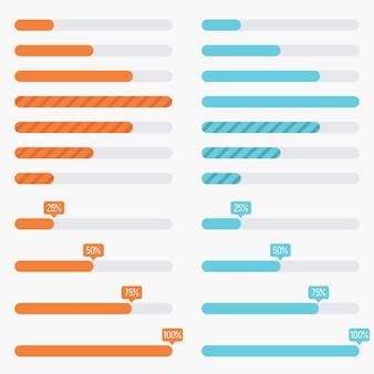 Preloaders arancioni e blu e barre di caricamento di progresso nello stile piano moderno