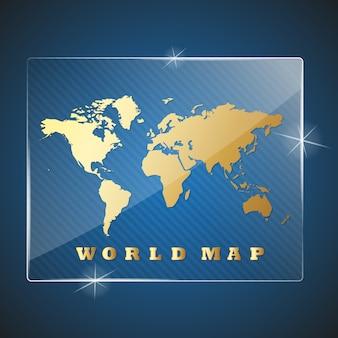Premi del trofeo di vetro con la mappa del mondo. illustrazione
