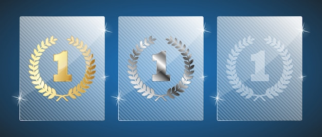 Premi del trofeo di vetro. illustrazione. tre varianti