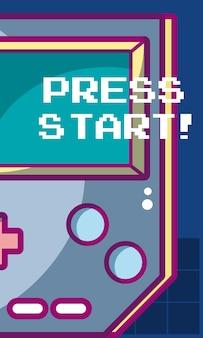 Premi la bandiera del videogioco di inizio con progettazione grafica dell'illustrazione portatile di vettore della console