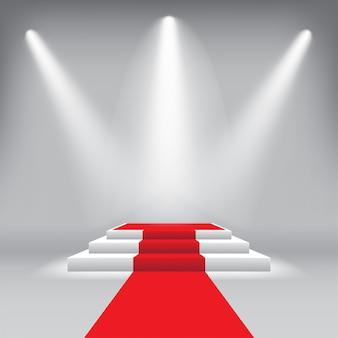 Premiazione del podio sul palco con tappeto rosso e riflettori