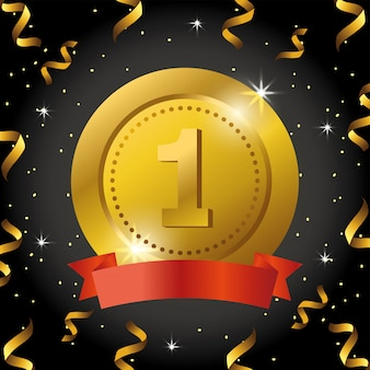 Premio della moneta con nastro e coriandoli alla celebrazione