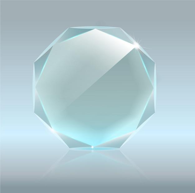 Premio realistico del trofeo di vetro bianco.