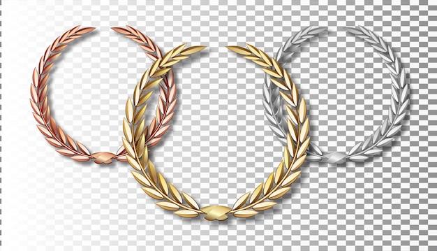 Premio set di alloro isolato su uno sfondo trasparente. primo, secondo e terzo posto. modello del vincitore. simbolo di vittoria e successo. corona d'alloro d'oro.