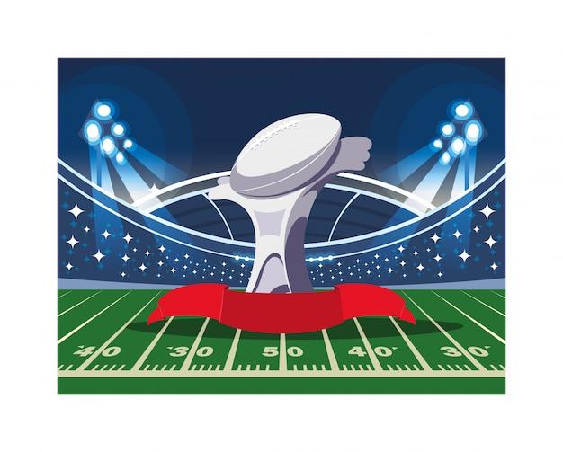 Premio sport football americano nello stadio di calcio