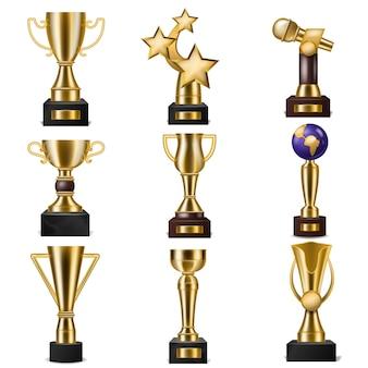 Premio trofeo vincitori vettore premio trofeo d'oro per pluripremiato campione con ricompensa per la vittoria sulla concorrenza illustrazione insieme di coppa d'oro per primo posto isolato