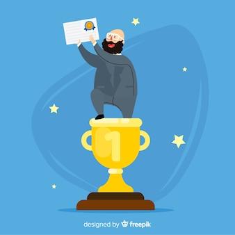 Premio vincente personaggio felice con design piatto
