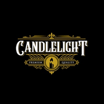 Premium art candle light flame line art logo design illustration