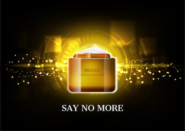 Premium crema cosmetica con polvere d'oro incandescente e orologio astratto sbiadito su sfondo scuro