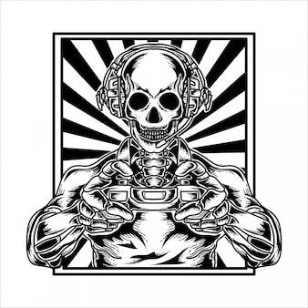 Premium di scheletro per tatuaggi e tshirt design