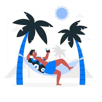 Prenda il sole in un'illustrazione di concetto dell'amaca
