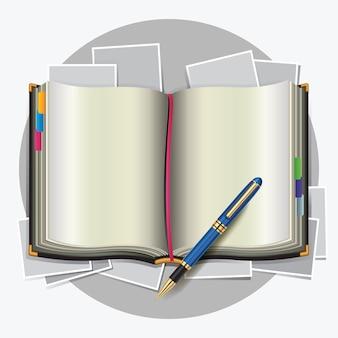 Prenota con illustrazioni vettoriali penna.