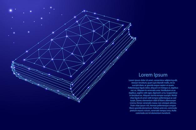Prenota il simbolo della conoscenza per i fan della letteratura dalle futuristiche linee blu poligonali e dalle stelle luminose.