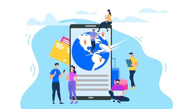 Prenotazione biglietto aereo con app mobile piatto vettoriale