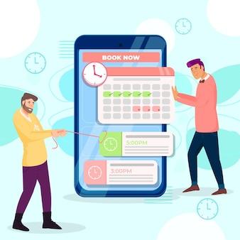 Prenotazione di appuntamenti con smartphone e uomini