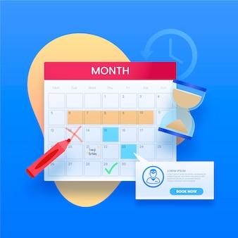 Prenotazione di un calendario degli eventi con segni