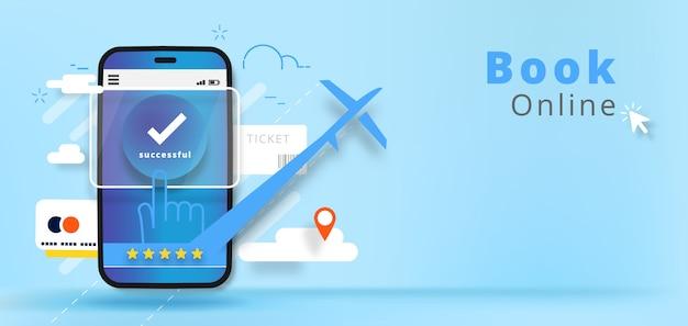 Prenotazione di voli o biglietti online. app online per la prenotazione di hotel online. illustrazione
