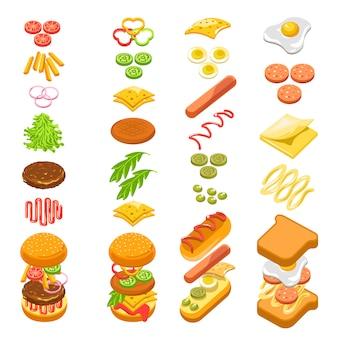 Preparare il poster colorato modello graduale di fast food