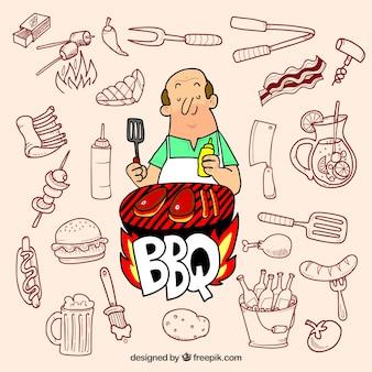 Preparazione barbecue - raccolta di elementi disegnati a mano
