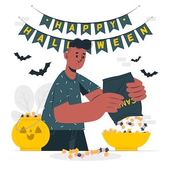 Preparazione dell'illustrazione di concetto del canestro delle caramelle di halloween