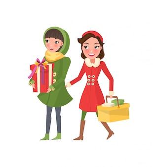 Preparazione di natale con lo shopping delle donne