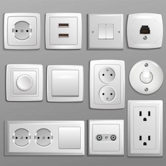 Presa e interruttore presa elettrica vettoriale per spine elettriche e set di illustrazione di elettricità di diversi tipi di prese di corrente e interruttori isolati