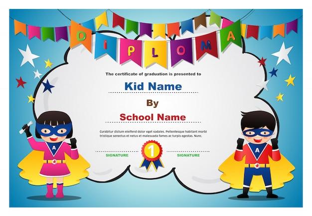 Preschool superhero bambini ragazzi e ragazze diploma certificato modello di progettazione colorata