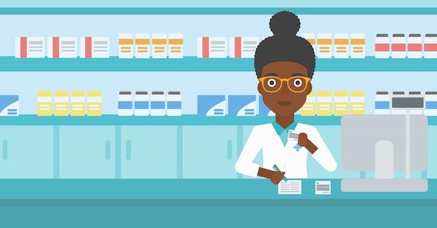Prescrizione di scrittura del farmacista.