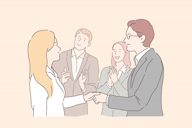 Presentazione del business partner. esperti delle risorse umane, colleghi che incontrano nuovo collega, capo maschio, top manager congratulandosi con il lavoratore dell'azienda per il completamento del progetto commerciale di successo. appartamento semplice