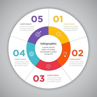 Presentazione del cerchio di infographic di affari di processo