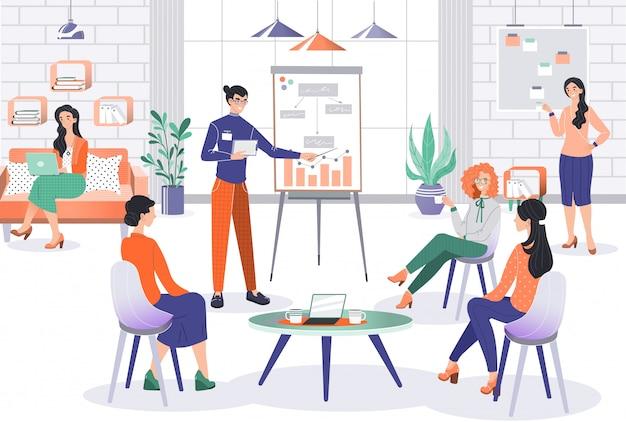Presentazione del progetto di affari in ufficio, personaggio dei cartoni animati del responsabile di gruppo, illustrazione della gente
