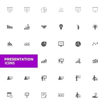 Presentazione dell'attività icon set icone vettoriali nero illustrazione