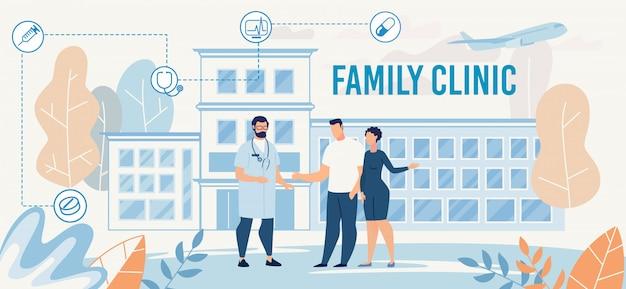 Presentazione della clinica familiare con doctor meet couple