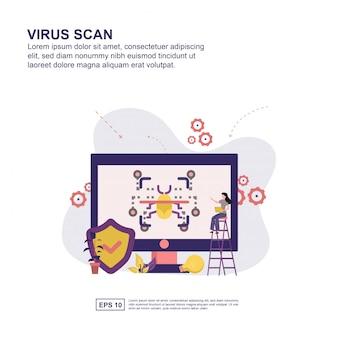 Presentazione della scansione antivirus, promozione sui social media, banner