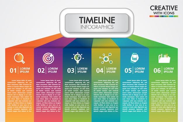 Presentazione di infographics di affari di vettore con 6 passaggi