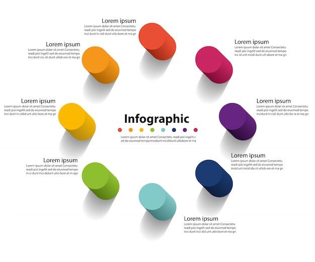 Presentazione infografica in 8 fasi, cerchio lineare infografica