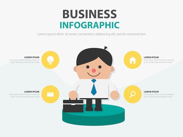 Presentazione infographic della borsa della tenuta dell'uomo d'affari