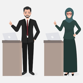 Presentazione musulmana di uomo e donna