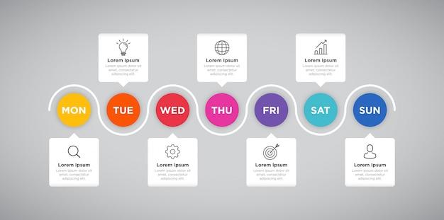 Presentazione settimanale di business infographic del pianificatore
